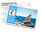 Stones balance, pebbles stack over blue sea in Croatia. Blue sky on sunny adriatic coast in summer. Postcard Template