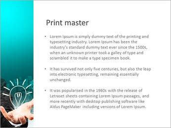 Businessman hand holding light bulb illustration idea concept. PowerPoint Template