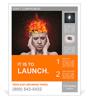 Concept, an idea. head of woman with a flame of fire on black background Poster Template