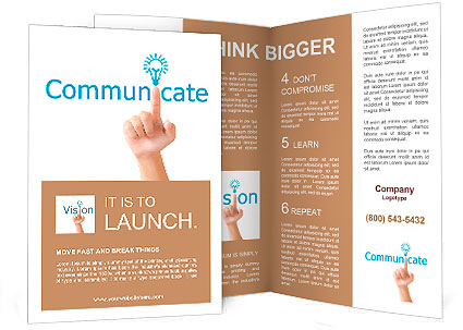 Hand and word communicate. - business concept isolated on white background Brochure Template