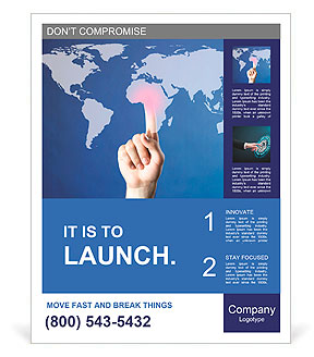 Hand pushing on a touch screen interface Poster Template