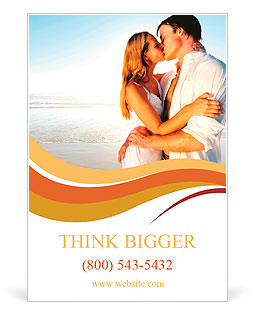 Newlywed couple kissing on honeymoon, beach vacation in summer and an intimate moment. Ad Template