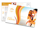Newlywed couple kissing on honeymoon, beach vacation in summer and an intimate moment. Postcard Template