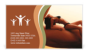 Beautiful young woman in bikini resting on a man's biceps. Fitness, tanning, health and beauty conce Business Card Template