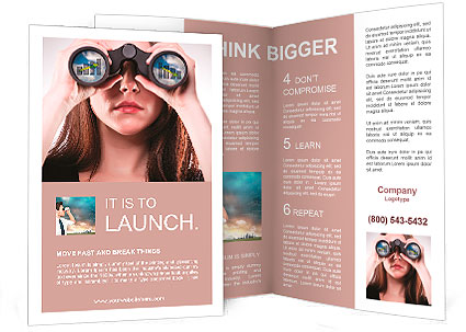A businesswoman looking through binoculars, seeing conflicting trends in earnings prediction, can be Brochure Template