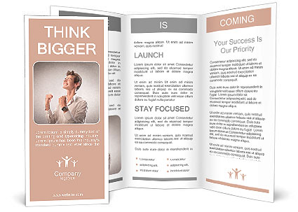 Portrait of a triumphing young businessman Brochure Template