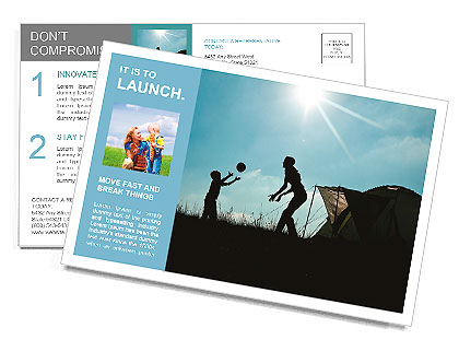 Family camping. Silhouette of mother and son having fun outdoors near tent. Autumn summer outdoor ac Postcard Template