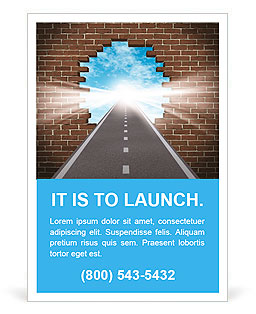 Break through to opportunity concept with a highway going through a broken brick wall to a shinning Ad Template