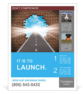 Break through to opportunity concept with a highway going through a broken brick wall to a shinning Poster Template