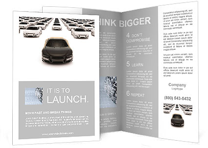 Front view of black sports car leaving the pack with hundreds white Brochure Template