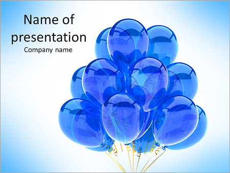 Party Balloons Blue Translucent Happy Birthday Anniversary Graduation Retirement Cyan Decoration F Powerpoint Template Infographics Slides