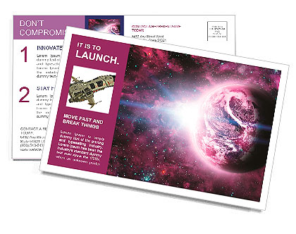 Red planet in beautiful space Postcard Template