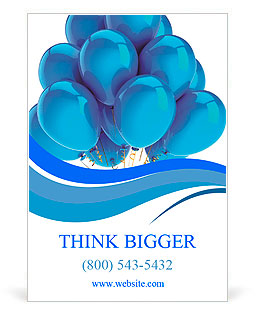 Cyan balloons modern party decoration. Happiness joyful holiday emotion abstract. Birthday celebrati Ad Template