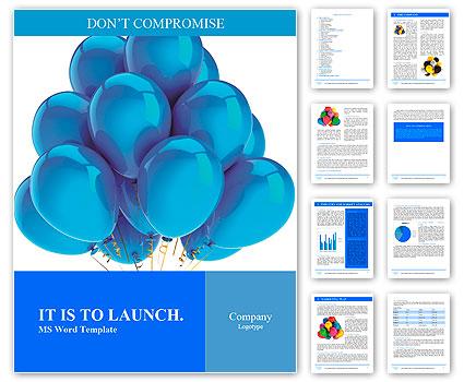 Cyan balloons modern party decoration. Happiness joyful holiday emotion abstract. Birthday celebrati Word Template