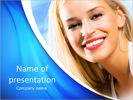 Portrait of young happy smiling beautiful woman on sea beach PowerPoint Template