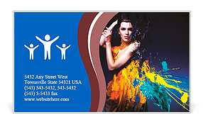 Sensual sexy woman in long yellow dress and splatter Business Card Template