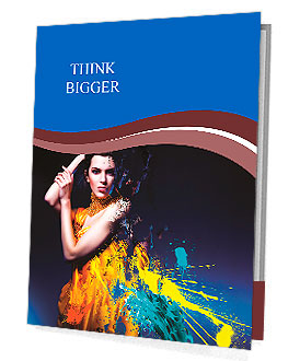 Sensual sexy woman in long yellow dress and splatter Presentation Folder
