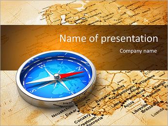 Widok makro niebieski metalowy kompas na mapie starego świata Szablony prezentacji PowerPoint