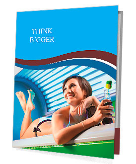Young attractive brunette girl is laying in the working solarium Presentation Folder