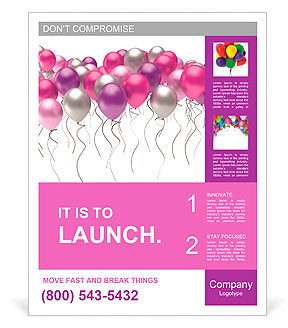 Flying colorful balloons on a white background Poster Template