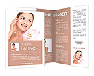 Happy portrait of beautiful young woman with flower on a shoulder applying cosmetic cream on a cheek Brochure Template