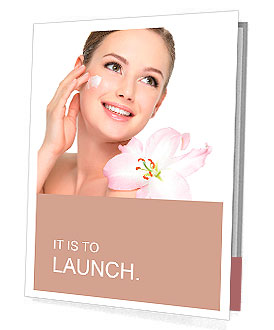 Happy portrait of beautiful young woman with flower on a shoulder applying cosmetic cream on a cheek Presentation Folder