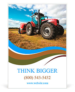 Huge tractor collecting haystack in the field in a nice blue sunny day Ad Template