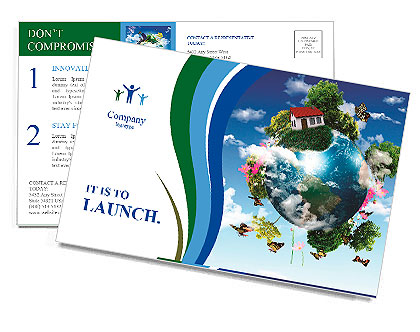 Earth with the different elements on its surface. Humorous collage. Postcard Template