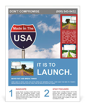 An American road sign with sky background and copy space for your message, Made In The USA Flyer Template
