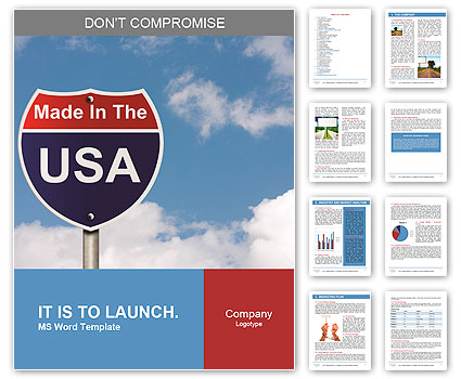 An American road sign with sky background and copy space for your message, Made In The USA Word Template
