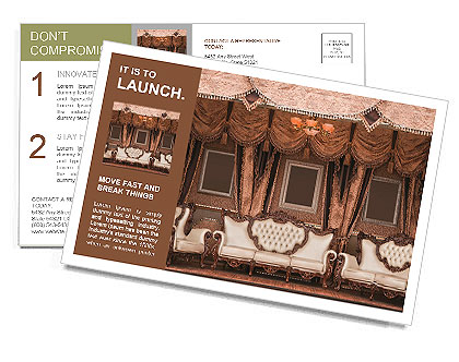 Beautiful Old Styled Interior Postcard Template
