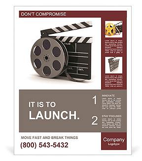 Beyaz arka plan üzerinde sinema alkış ve film makarası, 3d illüstrasyon Posterler