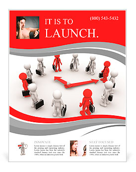 3d people - human character, person arranged in watch ( clock ) form. Strategy. Businessman. 3d rend Flyer Template
