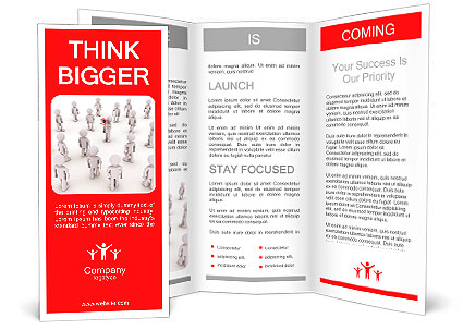 3d person with megaphone and others walking towards him Brochure Template