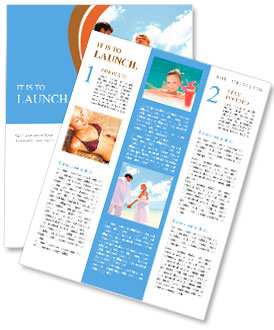 Just-married couple standing by blue lagoon Newsletter Template