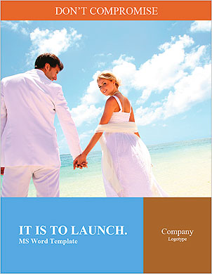 Just-married couple standing by blue lagoon Word Template - Page 1