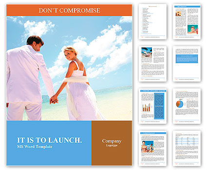 Just-married couple standing by blue lagoon Word Template