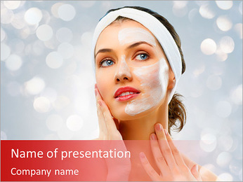 Beauty women getting facial mask PowerPoint Template