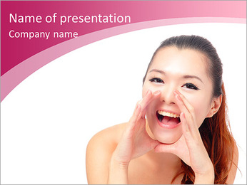 Asian beauty skin care woman face, Beautiful young woman touching her face looking to the side. Isol PowerPoint Template