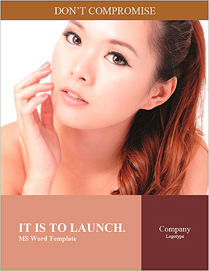 Asian beauty skin care woman face, Beautiful young woman touching her face looking to the side. Isol Word Template - Page 1