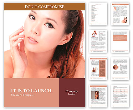 Asian beauty skin care woman face, Beautiful young woman touching her face looking to the side. Isol Word Template
