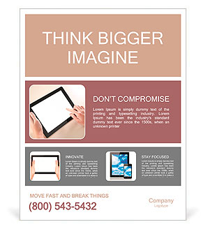Woman hands holding and pointing on contemporary digital frame with blank screen. Poster Template