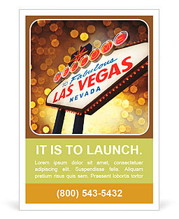 Welcome To Las Vegas neon sign at night Ad Template