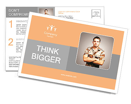 Portrait of a serious young soldier standing against a grey background Postcard Template