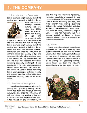 Portrait of a serious young soldier standing against a grey background Word Template - Page 3