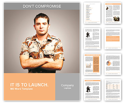 Portrait of a serious young soldier standing against a grey background Word Template