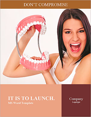 Funny woman holding open jaws, showing healthy teeth Word Template - Page 1