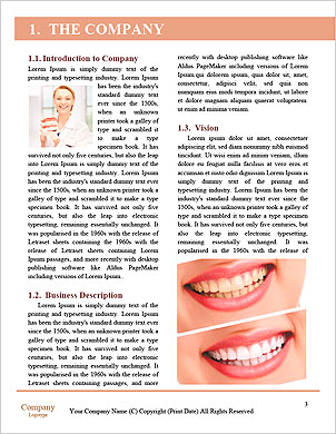 Funny woman holding open jaws, showing healthy teeth Word Template - Page 3