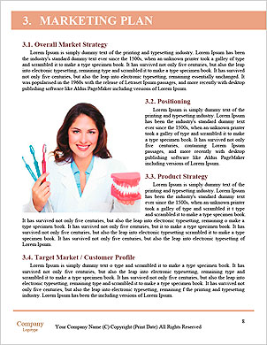 Funny woman holding open jaws, showing healthy teeth Word Template - Page 8