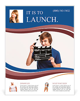 Casual young man holding a clapboard, over a gray background Flyer Template